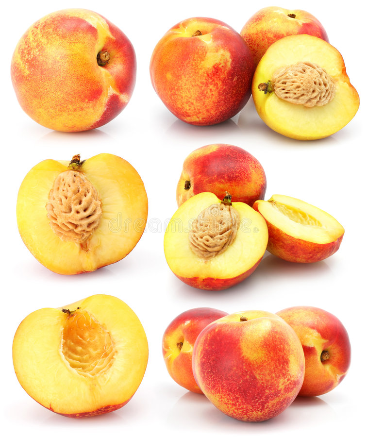 Free Natural Peach Fruits Collection Isolated On White Stock Photography - 5339262