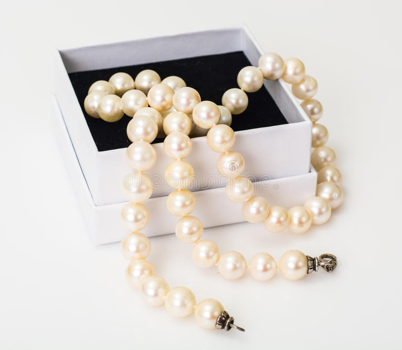 Natural pearl white beads stock images