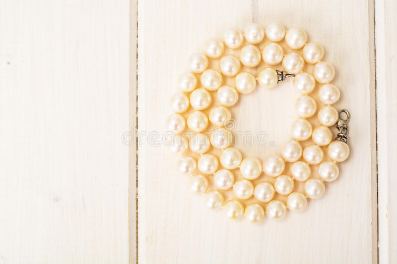 Natural pearl white beads royalty free stock photography
