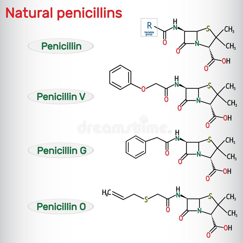 Natural penicillins antibiotic drug molecule. Benzylpenicillin , phenoxymethylpenicillin, almecillin. Structural chemical formula stock illustration