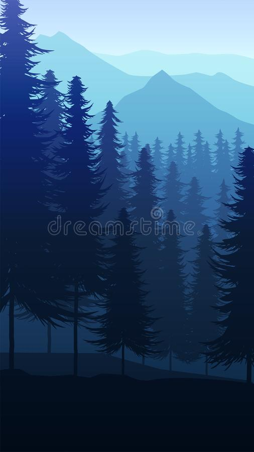 Natural pine forest mountains horizon Landscape wallpaper Sunrise and sunset Illustration vector style Colorful view background royalty free illustration