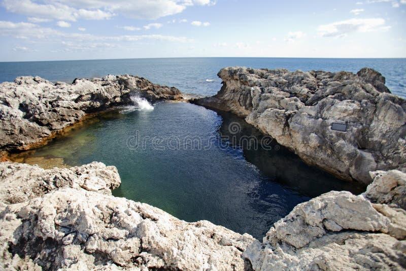 Natural pool «bowl of love». Cape Tarhankut landscape. Crimea royalty free stock photo