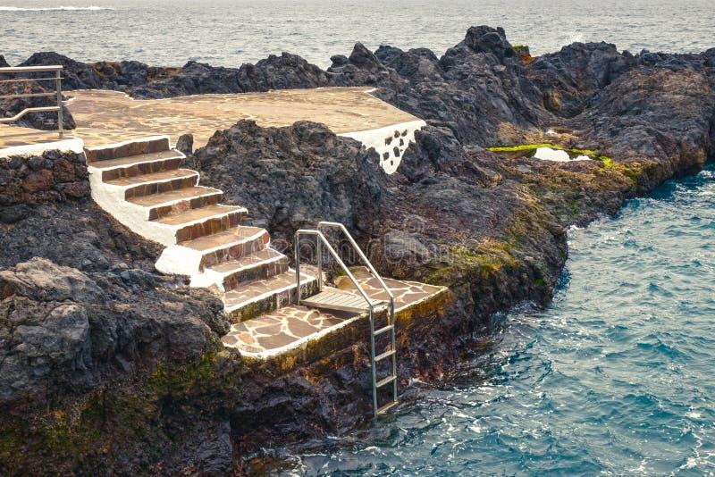 Natural pool in Garachico, Tenerife Island royalty free stock photos