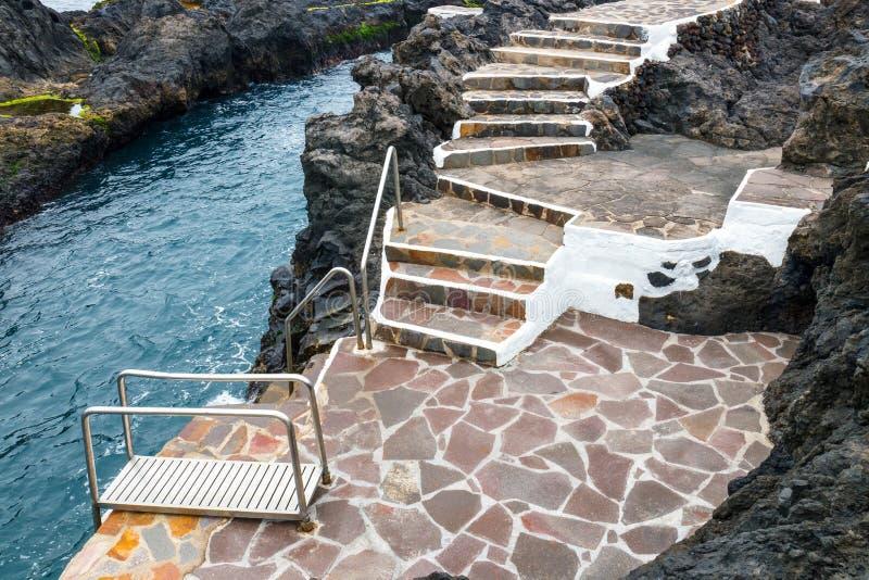 Natural pool in Garachico, Tenerife Island stock photography