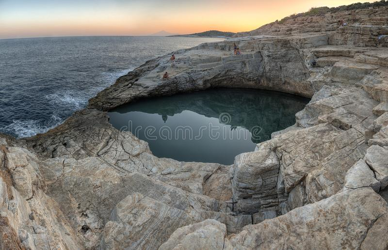 Natural pool Giola, Thassos island, Greece royalty free stock photos