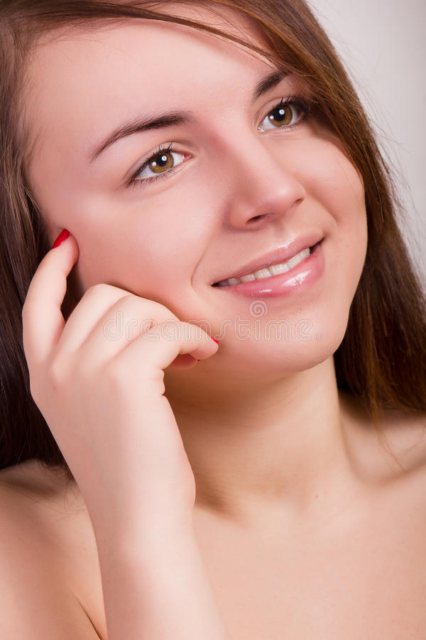 Natural portrait of a beautiful young woman royalty free stock photography