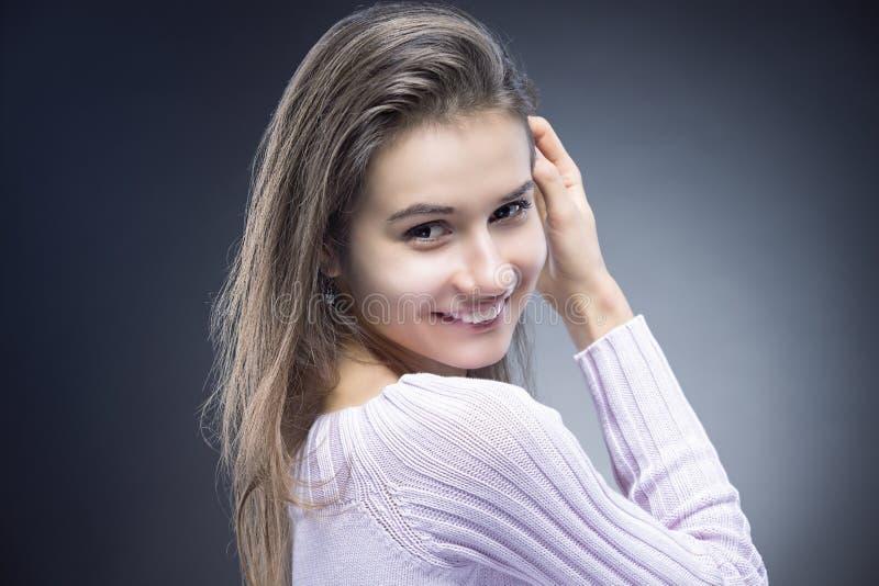 Natural Portrait of Sensual Smiling Caucasian Brunette Woman With Beautiful Long Hair stock image