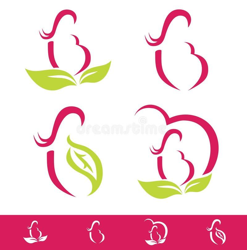 Natural Pregnancy Design Set stock illustration
