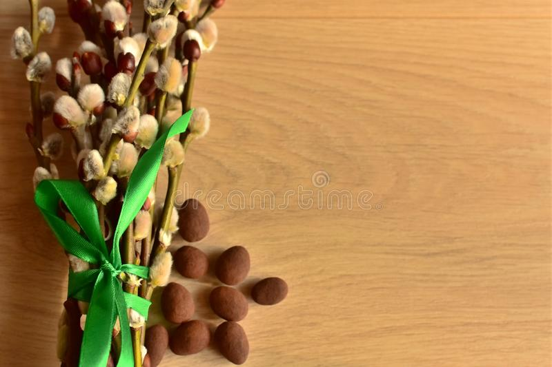 Natural fresh willow catkins tied with green ribbon and chocolate eggs on wooden background copy space easter and spring greetings royalty free stock images
