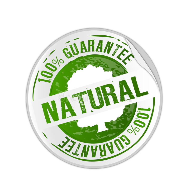 Natural product guarantee stamp royalty free illustration