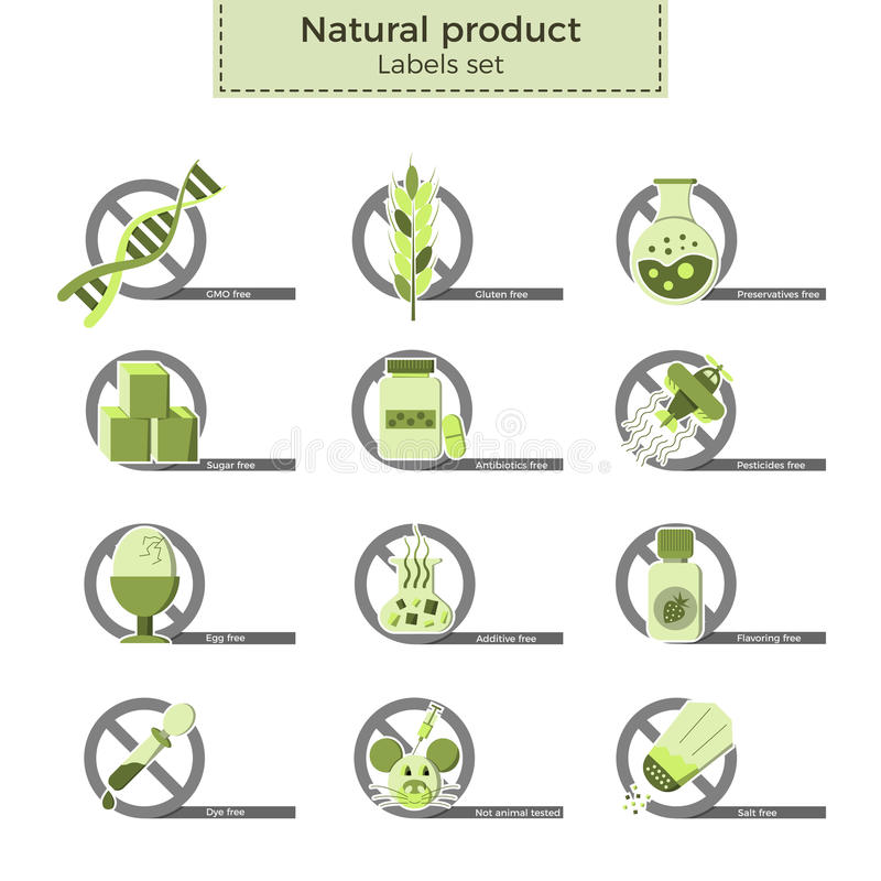 Natural product labels royalty free illustration