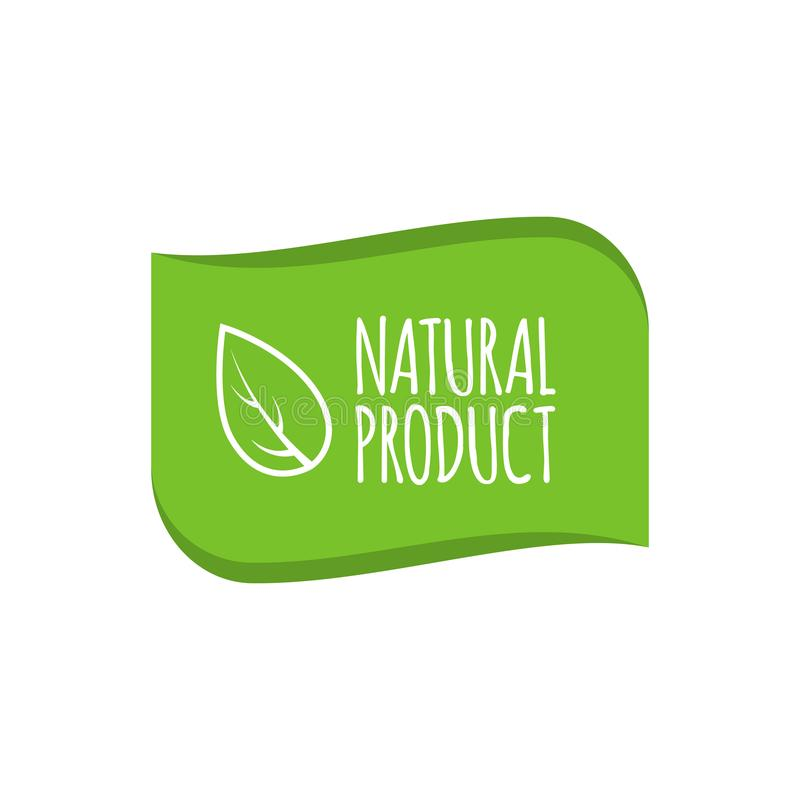 Natural product logo, badge. Organic sticker for products packaging. Vector illustration.  royalty free illustration