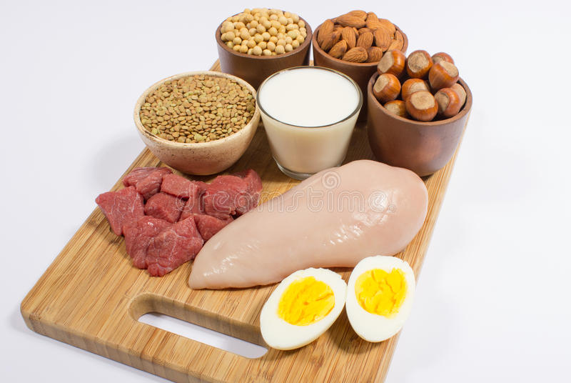 Natural products containing plant and animal proteins. stock photos