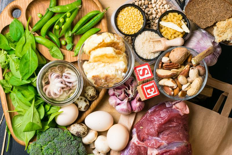 Natural products and ingredients containing selenium, dietary fiber and minerals, concept of healthy nutrition. Natural products and ingredients containing stock photos