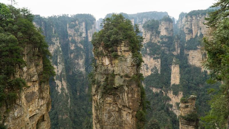 Natural quartz sandstone pillar the Avatar Hallelujah Mountain located in the Zhangjiajie National Forest Park, China stock photos