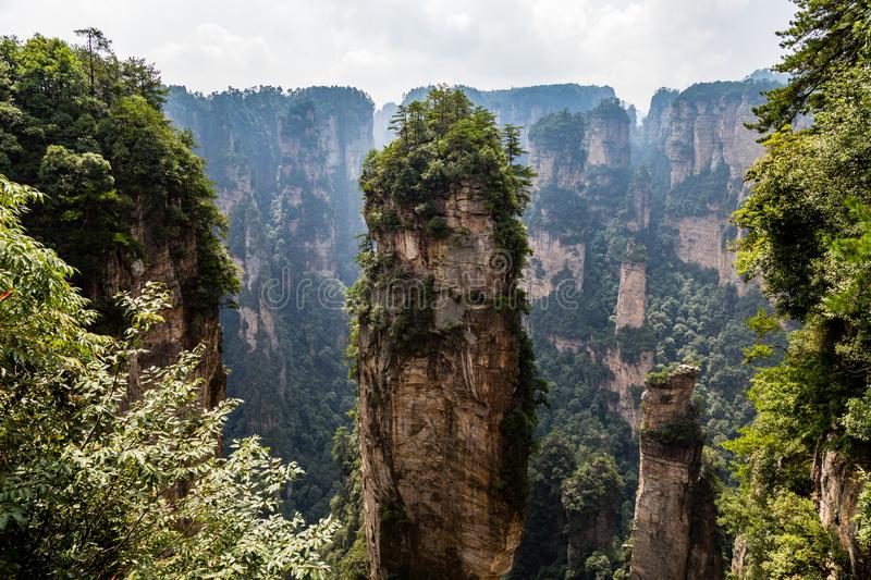 Natural quartz sandstone pillar Hallelujah Mountain, 1,080 m is located in the Zhangjiajie Wulingyuan National Park, China royalty free stock photo
