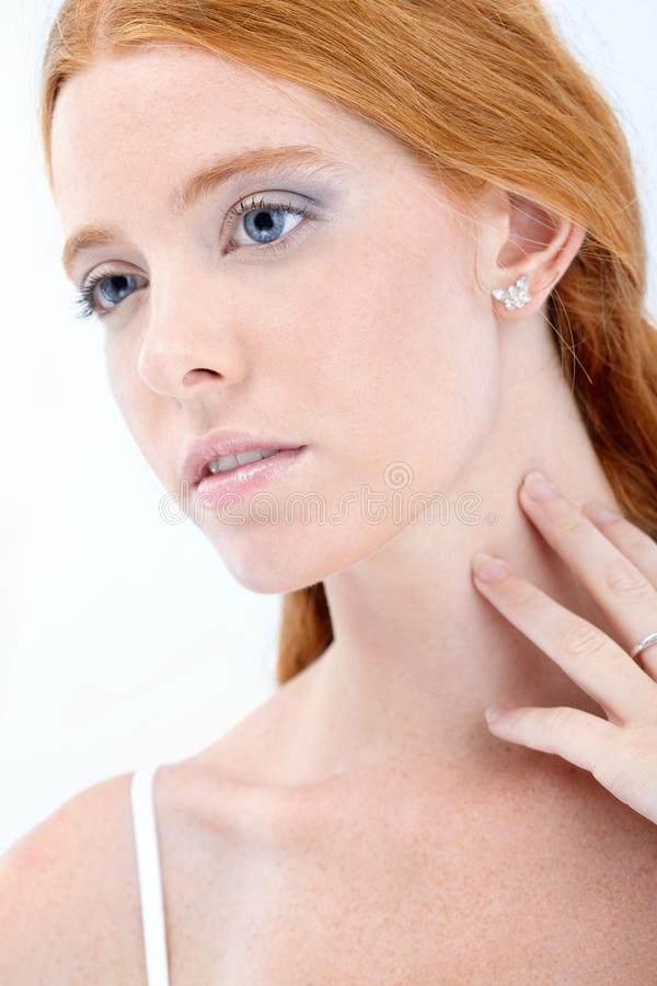 Natural redhead beauty stock photos