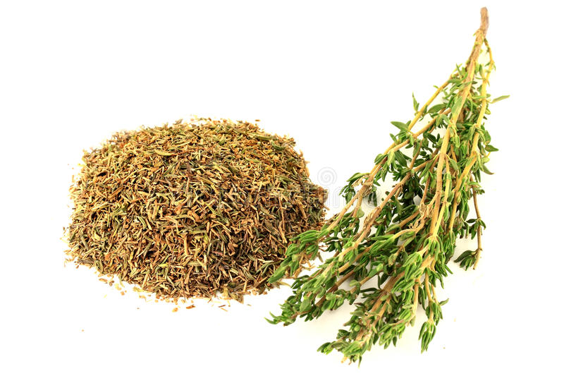 Natural Remedy Thyme. Natural Remedy and Seasoning Thyme, Fresh Green on stalks and dry rubbed on pile over white background royalty free stock photo