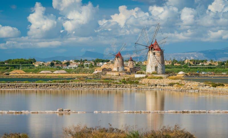 Natural reserve of the `Saline dello Stagnone` near Marsala and Trapani, Sicily. royalty free stock image