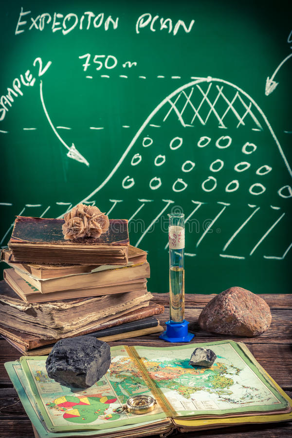 Natural resources of the earth at a geography lesson. Retro style royalty free stock photography