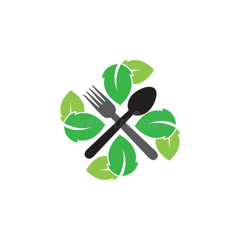 Natural restaurant graphic design template vector isolated. Logo, nature, spoon, leaf, cafe, fork, utensil, food, icon, cafeteria, organic, cartoon, yummy vector illustration