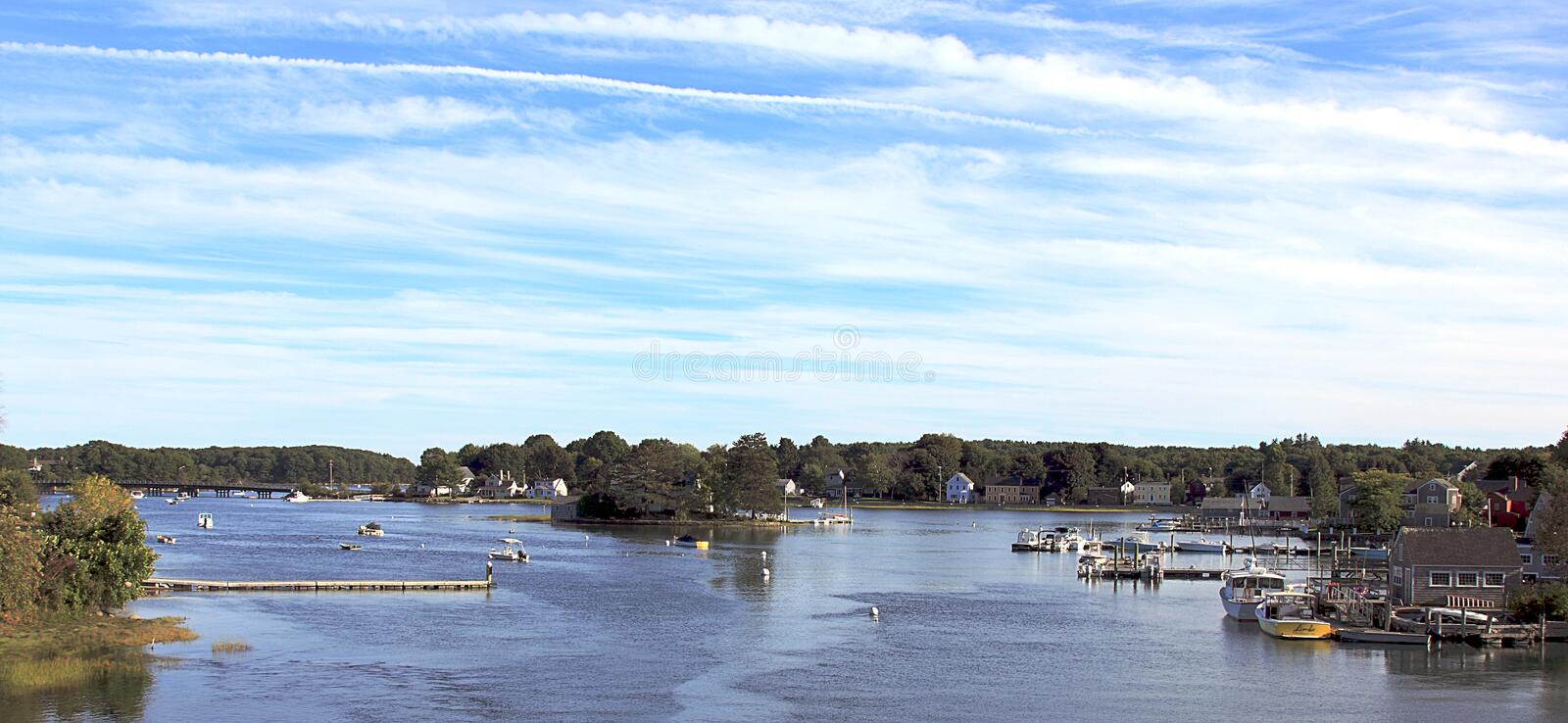Natural riverside scenery with a small harbor near Portland, Maine. Natural riverside scenery including a small harbor near Portland, Maine royalty free stock photography