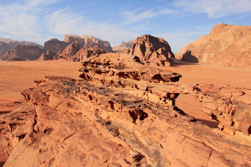 Natural rock bridge formation on Wadi Rum desert. stock photography