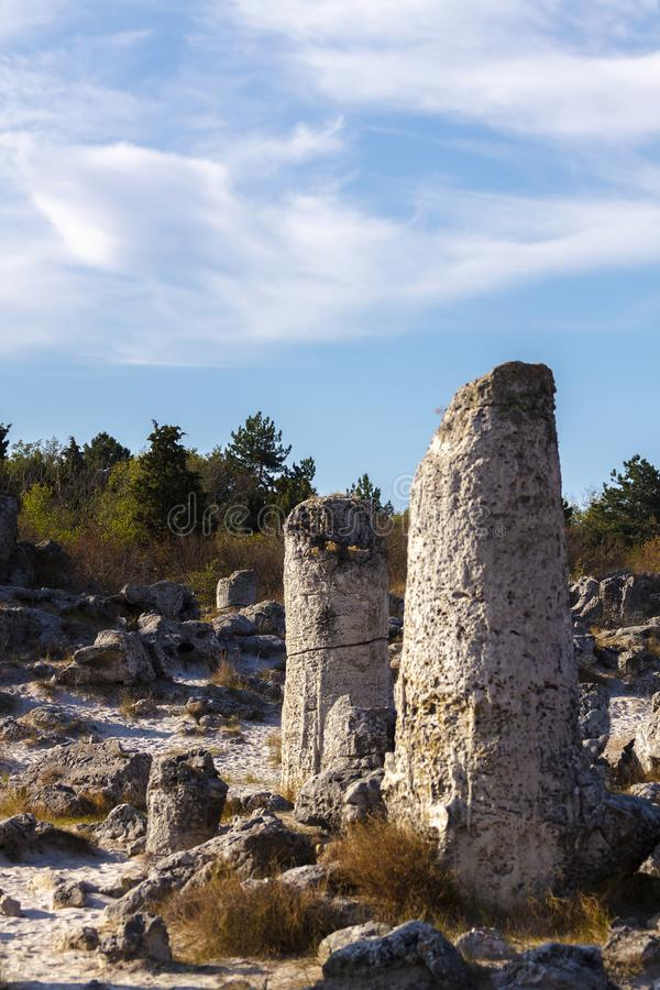 Natural rock formations with limestone composition stock image