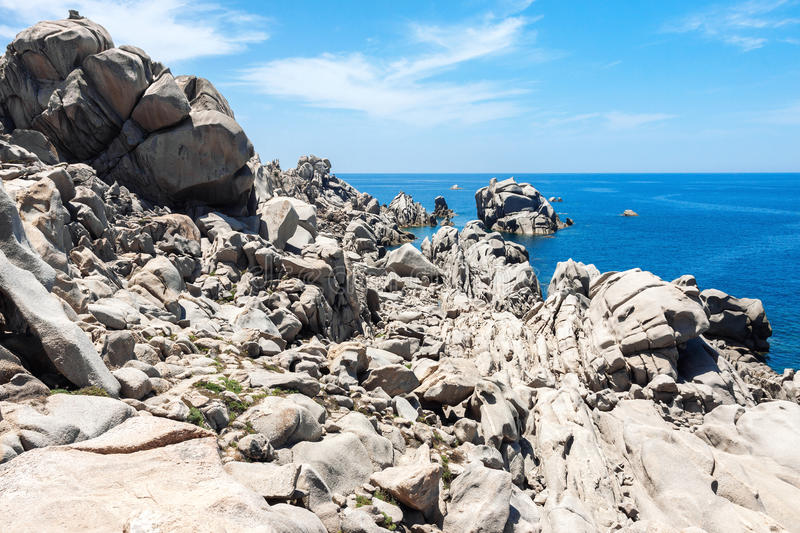 Natural rock formations in Sardinia stock photography