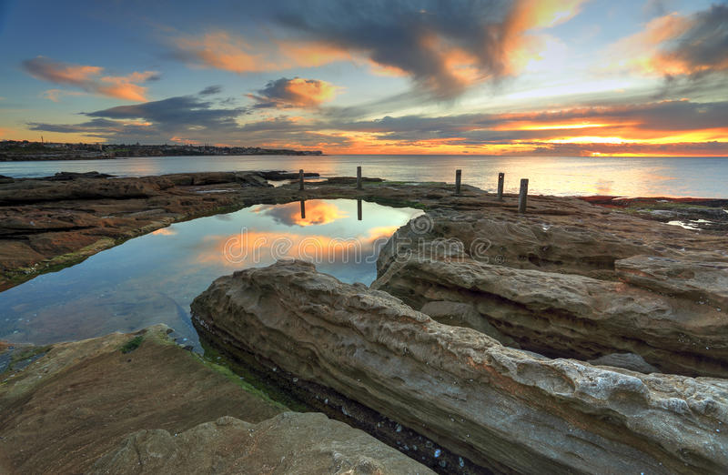 Natural rock pool, South Coogee Australia. Deep channels have been eroded into the rocks by water running into this natural rock pool, South Coogee, Australia royalty free stock photo