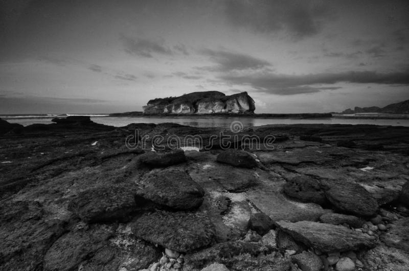 Natural rock texture in black and white at Pantai Batu Payung,  Lombok indonesia.  royalty free stock photography