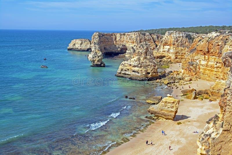 Natural rocks at Praia da Marinha in the Algarve Portugal royalty free stock photo