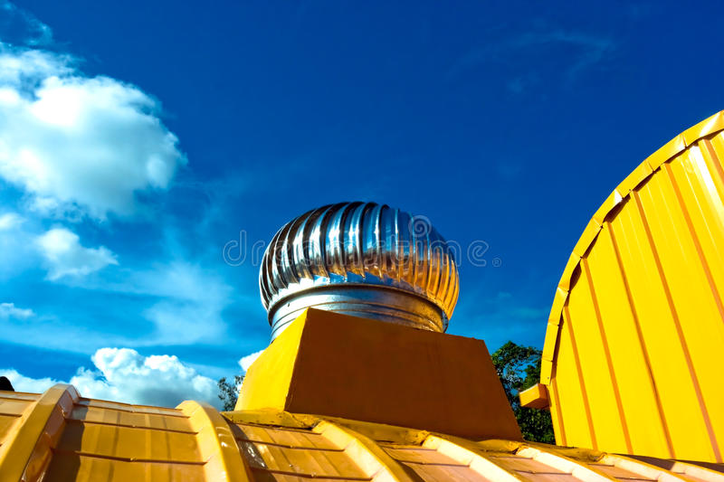 Natural Roof Ventilator. With the blue sky stock photo