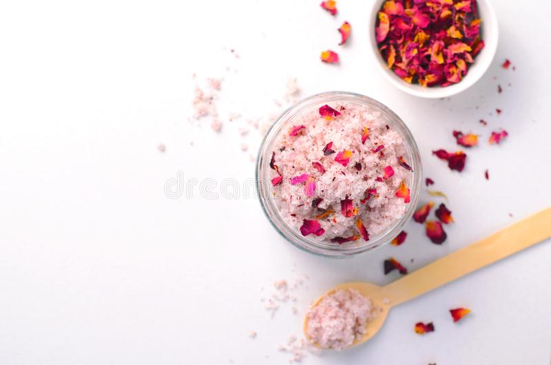 Natural Rose Sugar Scrub, Homemade Cosmetics, Spa Treatment royalty free stock images