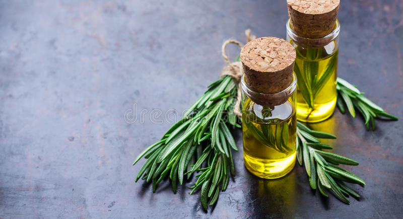 Natural rosemary essential oil for beauty and spa royalty free stock photos