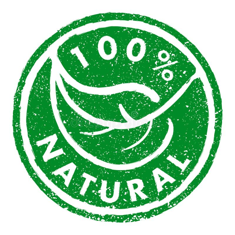 100% NATURAL rubber stamp grunge style. Green leaf round stamp royalty free illustration