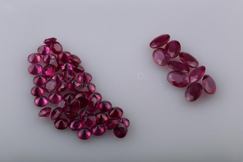 Natural ruby. Different shapes in the collection royalty free stock photos