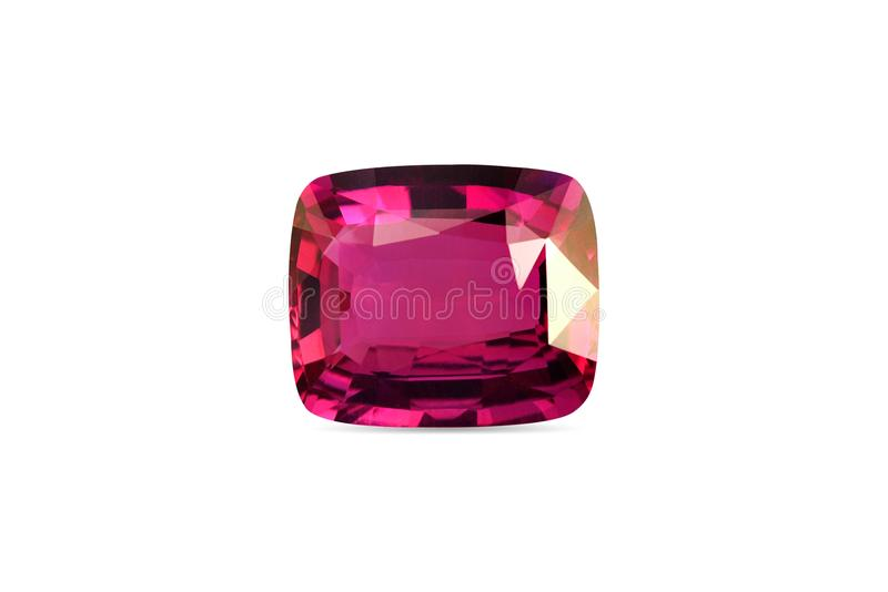 Natural Ruby gemstone. On a white background royalty free stock photo