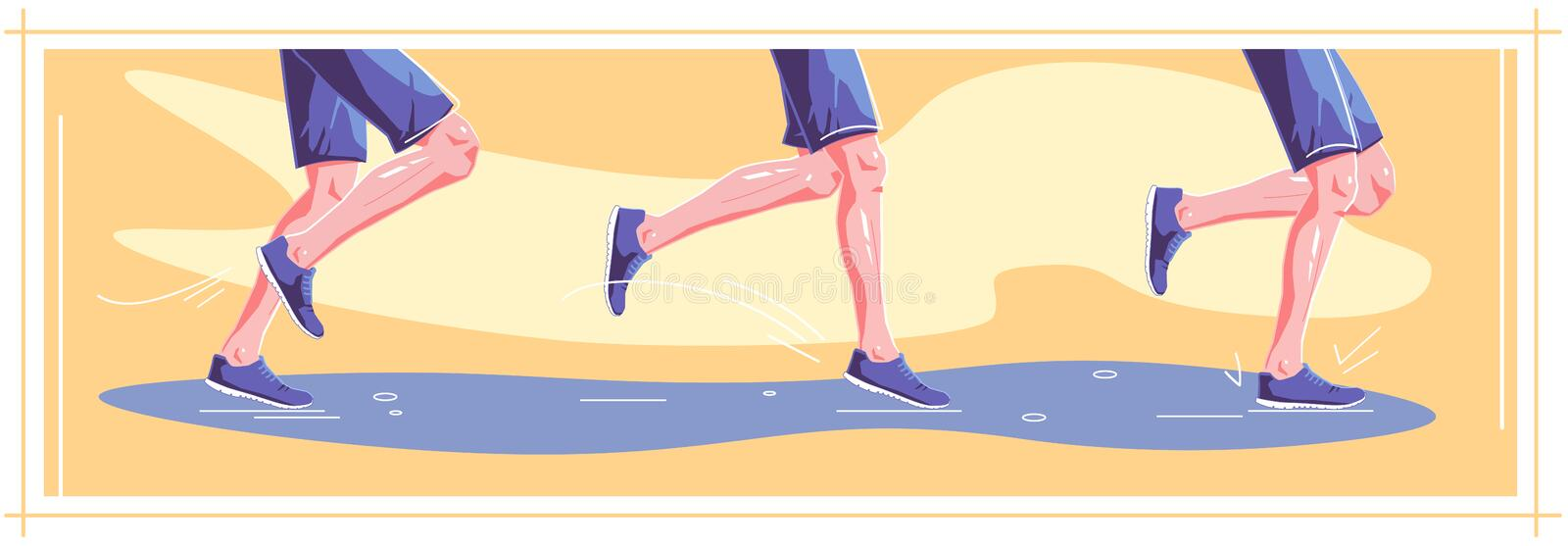 Natural running. Right stages of running. Healthy steps of run, lifestyle concept. Autumn sport. Vector flat. Natural running in wet weather. Right stages of royalty free illustration