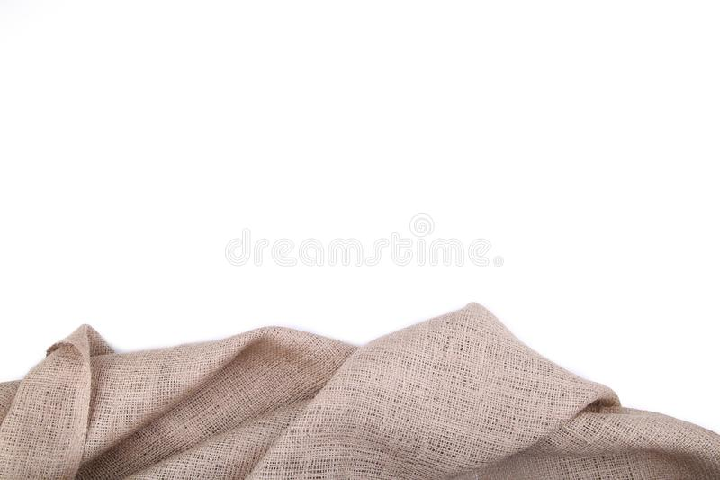 Natural sackcloth isolated on white background. Isolated canvas royalty free stock image