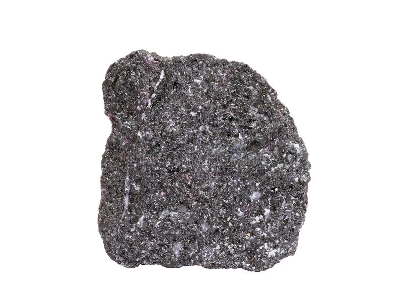 Natural sample of chromite mineral, the most important chromium ore on white background royalty free stock images