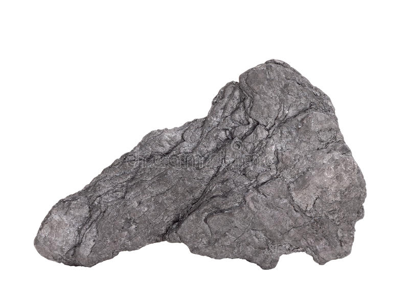 Natural sample of graphite – soft mineral from class of native elements, modification of carbon on white background royalty free stock photography