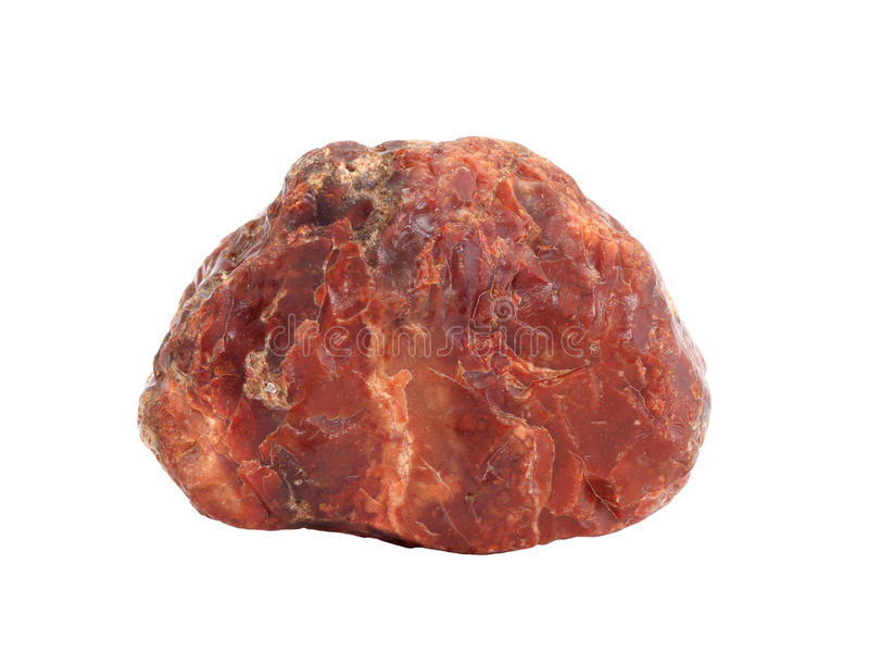 Natural sample of red jasper pebble isolated on white background stock photography
