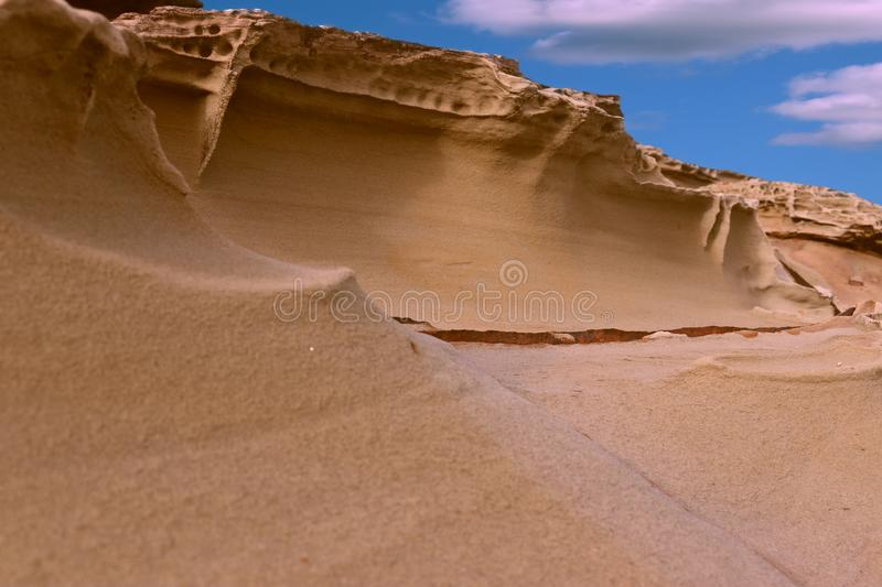Natural Sandstone cliff walls stock images