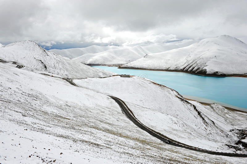 Natural scenery of Tibet in snow royalty free stock images