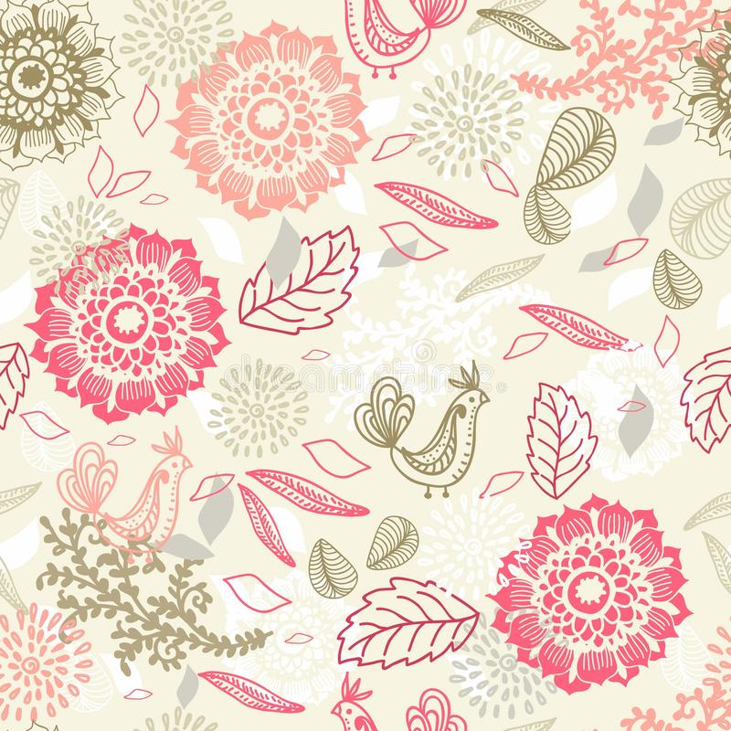 Download Seamless Background With Flower And Bird Stock Vector - Illustration of drawing, celebration: 29799127