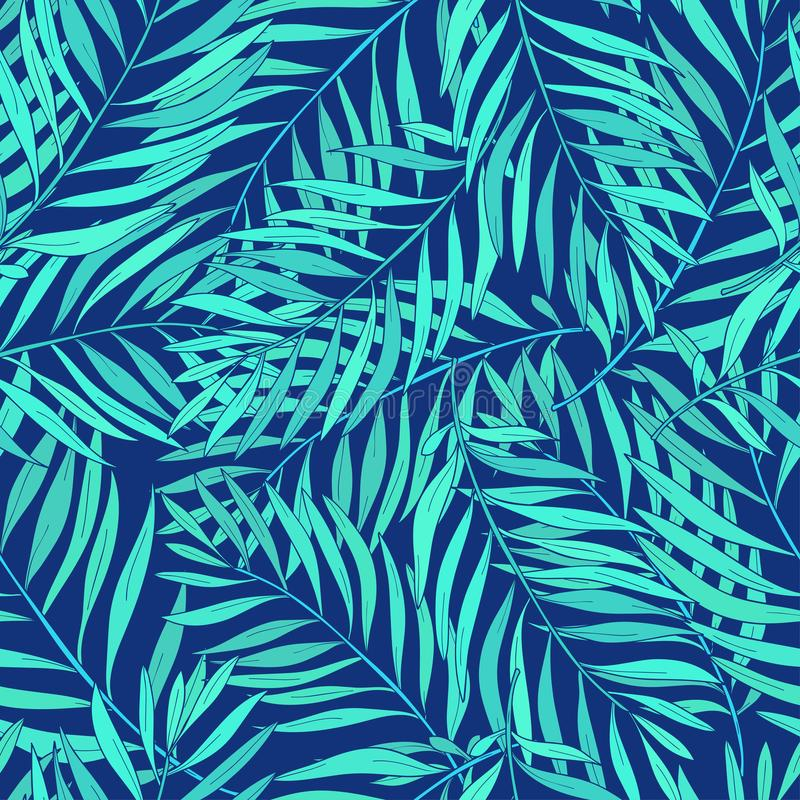Natural seamless pattern with green tropical palm leaves on blue background. Backdrop with foliage of exotic trees royalty free illustration