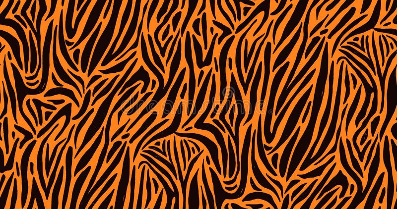 Natural seamless pattern with orange zebra or tiger coat of fur texture. Bright colored animal backdrop with stripes. Vector illustration in flat style for vector illustration