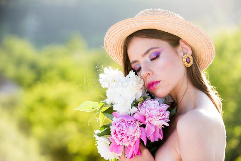 Natural seasonal background. Natural beauty and spa therapy. Spring woman. Springtime and vacation. Summer girl with stock images