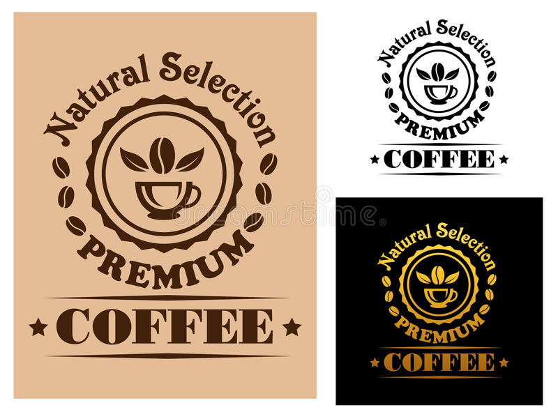 Natural Selection Premium Coffee label royalty free illustration